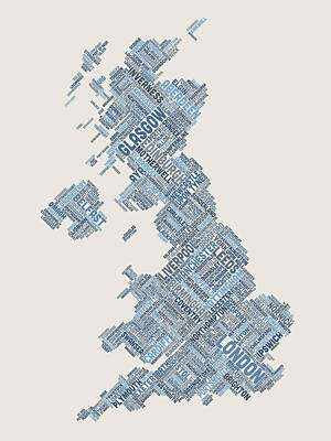 Great Britain Uk City Text Map Poster by Michael Tompsett