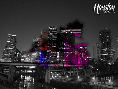 Houston Map And Skyline Watercolor Poster by Marvin Blaine