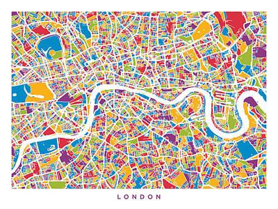 London England Street Map Poster by Michael Tompsett