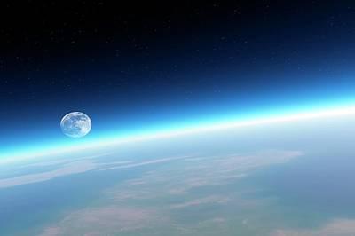 Moonrise Over Earth Poster by Detlev Van Ravenswaay