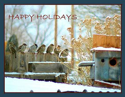 7 Sparrows Sitting On A Fence Greeting Card Poster