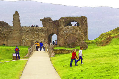 Tourists And The Path At Ruins Of The Urquhart Castle Poster by Ashish Agarwal
