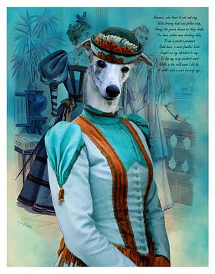 Whippet Art Canvas Print  Poster