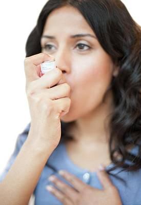 Woman Using Inhaler Poster