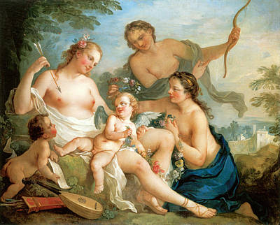 Venus And Cupid Poster by Charles Joseph Natoire
