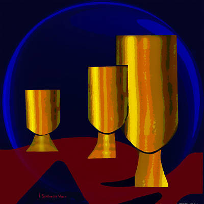 777 -  Golden Goblets Poster by Irmgard Schoendorf Welch