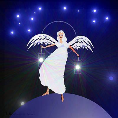783 - Angel With Two Lanterns   Poster by Irmgard Schoendorf Welch