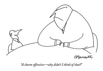 A Charm Offensive - Why Didn't I Think Of That? Poster by Charles Barsotti