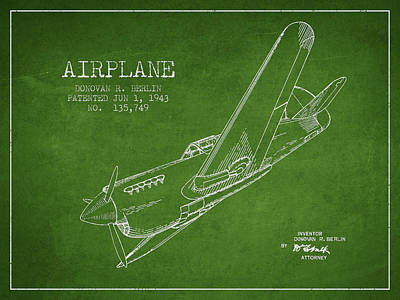 Airplane Patent Drawing From 1943 Poster by Aged Pixel