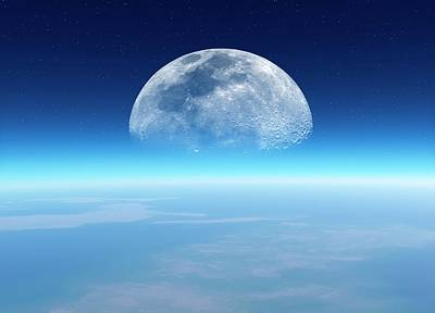 Moonrise Over Earth Poster
