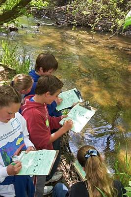 Students Studying River Water Quality Poster by Jim West