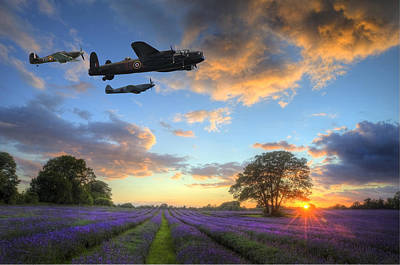 Stunning Atmospheric Sunset Over Vibrant Lavender Fields In Summ Poster by Matthew Gibson
