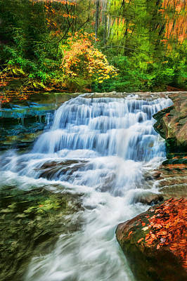 Waterfalls Great Smoky Mountains Painted  Poster