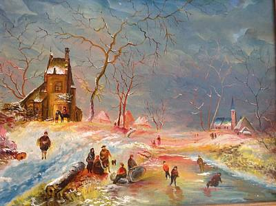 Poster featuring the painting Winter Landscape by Egidio Graziani