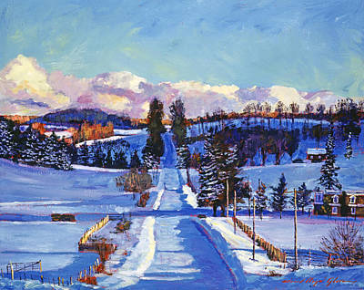 817 Canadian Winter Farm Poster by David Lloyd Glover