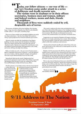 9/11 Address To The Nation Poster by Alan Levine