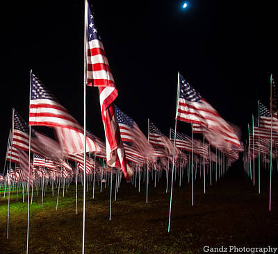 Poster featuring the digital art 9-11 Flags by Gandz Photography