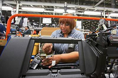 Car Dashboard Assembly Line Poster