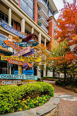 Charlotte City Skyline Autumn Season Poster