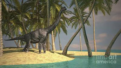 Large Brachiosaurus Grazing Poster by Kostyantyn Ivanyshen
