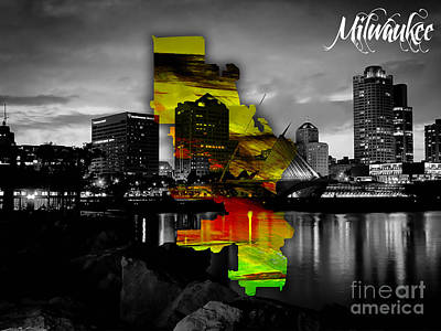 Milwaukee Map And Skyline Watercolor Poster