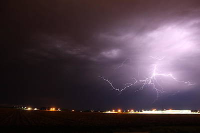 Poster featuring the photograph Round 2 More Late Night Servere Nebraska Storms by NebraskaSC