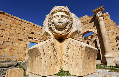 Sculpted Medusa Head At The Forum Of Severus At Leptis Magna In Libya Poster by Robert Preston