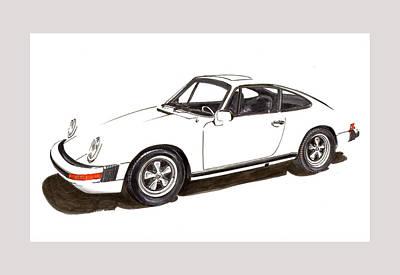 911 White On White 1978 Porsche Poster by Jack Pumphrey