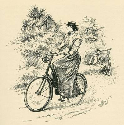 A 19th Century Female Cyclist Poster by English School