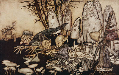 A Band Of Workmen, Who Were Sawing Down A Toadstool, Rushed Away, Leaving Their Tools Poster by Arthur Rackham