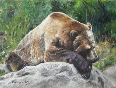 Poster featuring the painting A Bear Of A Prayer by Lori Brackett