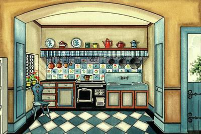 A Blue Kitchen With A Tiled Floor Poster