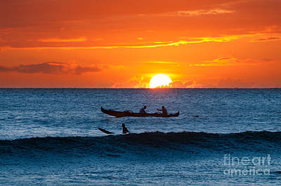 A Boat And Surfer At Sunset Maui Hawaii Usa Poster