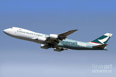 A Boeing 747-800 Cathay Pacific Cargo Poster by Luca Nicolotti