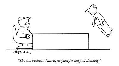 A Boss Behind A Desk Berates His Inferior Poster by Charles Barsotti