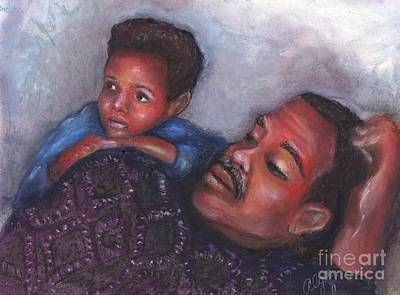 Poster featuring the mixed media A Boy And His Dad by Alga Washington