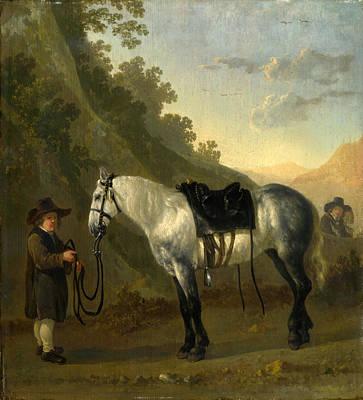 A Boy Holding A Grey Horse Poster by Abraham van Calraet