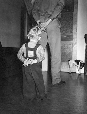 A Boy Imitates His Father Poster