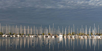 A Break In The Clouds - White Yachts Gray Sky Poster