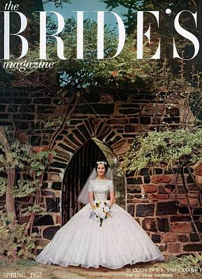 A Bride In Front Of Stone Gate Poster by Carmen Schiavone