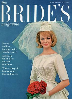 A Bride Smiling In A Wedding Gown Poster by Robert Randall