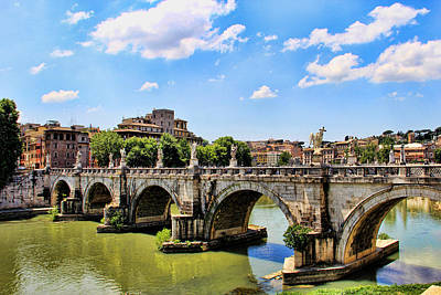 Poster featuring the photograph A Bridge In Rome by Oscar Alvarez Jr
