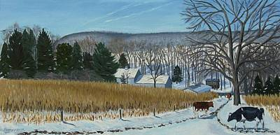 A Bright Blue Winter Day At Bear Meadows Farm Poster