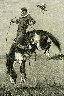 A Bronco Buster Riding A Bucking Horse 1891 Usa Poster by English School