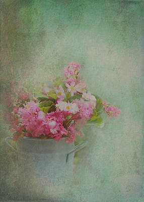 A Bucketful Of Pink Cottage Garden Flowers Poster by Carla Parris