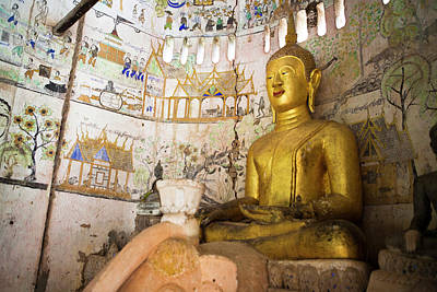 A Buddha Sits In An Ancient Buddhist Poster by Micah Wright