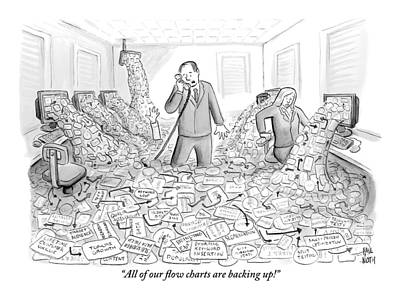 A Businessman Talks On The Phone As His Office Poster by Paul Noth
