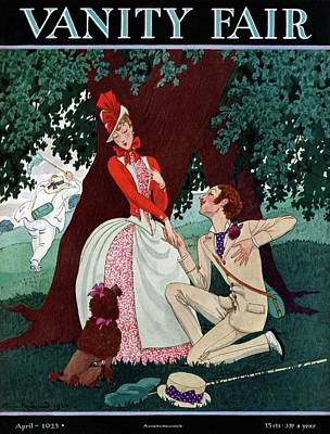 A Butterfly Collector Wooing A Young Woman Poster by Pierre Brissaud