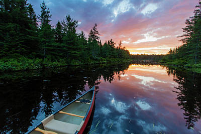 A Canoe At Sunrise On Little Berry Pond Poster by Jerry and Marcy Monkman