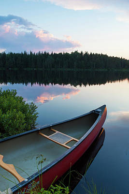 A Canoe On Little Berry Pond In Maine's Poster by Jerry and Marcy Monkman